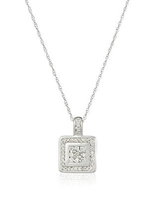 Bentelli Conjunto de cadena y colgante 9K Gold 0.19Ct Diamonds Oro Blanco