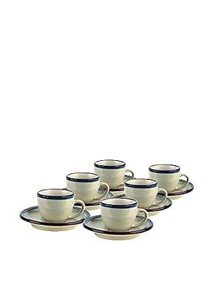 Tognana Kaffeetasse mit Untertasse 6er Set Fogolar Winter blau
