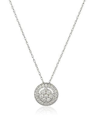 Bentelli Conjunto de cadena y colgante 9K Gold 0.16Ct Diamonds Oro Blanco