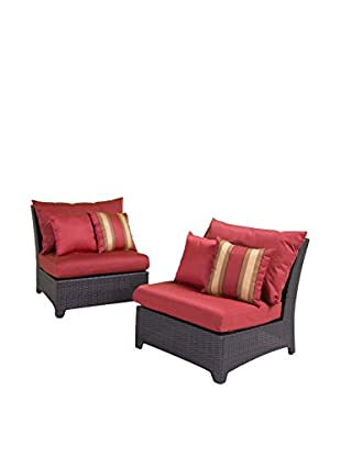 RST Brands Deco Set of 2 Modular Armless Chairs, Red