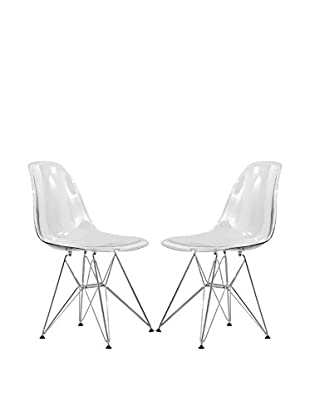 LeisureMod Set of 2 Cresco Molded Eiffel Side Chairs, Clear