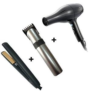 Combo Of Rechargeable Hair Trimmer + Straightener + Hair Dryer (Black)