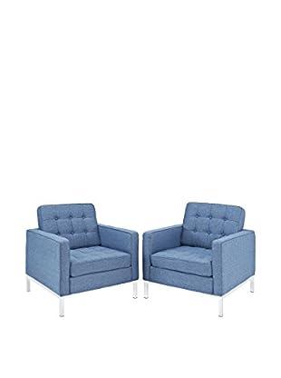 Modway Loft Set of 2 Wool Armchairs, Blue Tweed