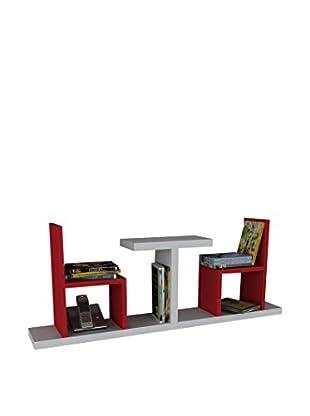 Dekorister Bücherregal Sense weiß/rot 22x110x43cm