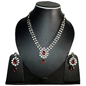 Cest Capella Sterling Glitz Classy Red Stones Kundan Necklace Earrings Set