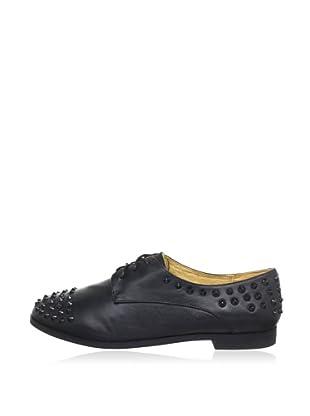 Buffalo London 212-4981-1 SILK LEATHER 144369 - Zapatos de cordones de cuero  mujer (Negro)