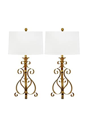 Safavieh Set of 2 Scroll Sculpture Table Lamps, Antique Gold