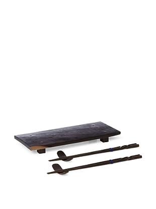 Bahari Rosewood Sushi Gift Set, Dark Brown