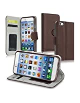 INSTEN Wallet Leather Case with Card Slots, Stand and Flip Cover for Apple iPhone 6 - Retail Packaging - Brown