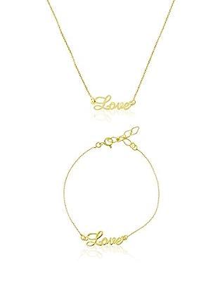 Cordoba Jewelles Conjunto de collar y pulsera plata de ley 925 milésimas bañada en oro