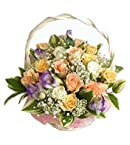 Arrangement of 12 mix roses basket