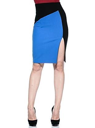 Annarita N Falda Tubo Spacco (Azul Eléctrico)