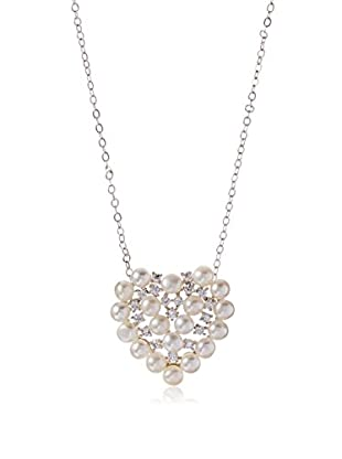 CZ by Kenneth Jay Lane Freshwater Pearl/CZ Heart Pendant Necklace