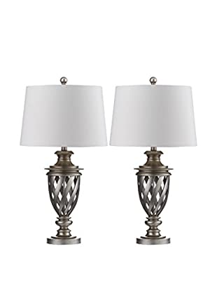 Safavieh Set of 2 Byron Urn Table Lamps, Antique Silver