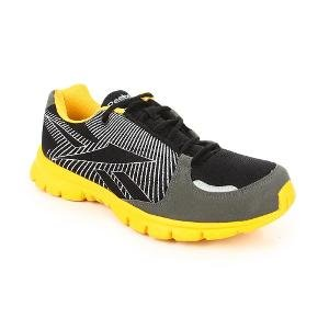 Reebok Men's Turbo Lite LP BLK/Rivert Grey/Silver/ATH. Yellow Running Shoes - 10 UK