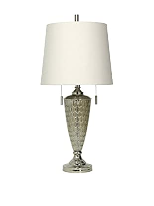 StyleCraft Jane Seymour Transitional 2-Light Table Lamp, Silver/Clear/White
