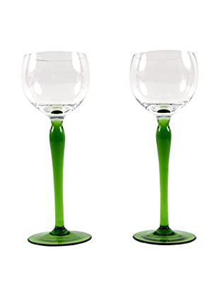 Pair of French Hand Blown Wine Glasses, Green/Clear