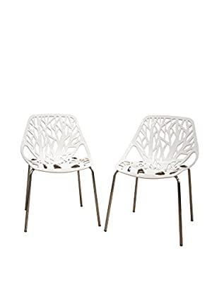 Baxton Studio Set of 2 Birch Sapling Dining Chairs, White