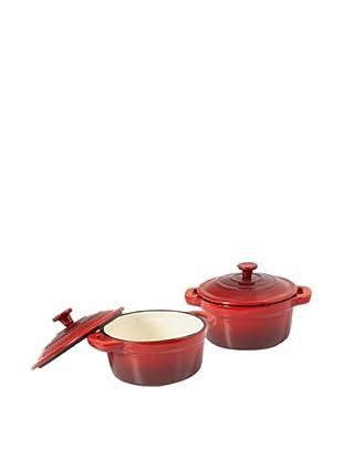 Tradifonte Set de 2 Cocottes Redondas Ø10 cm De Fundición Esmaltadas Rojas