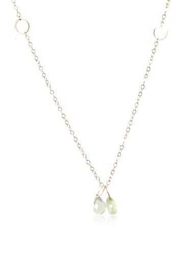Melissa Joy Manning 14K Gold Prehnite & Green Amethyst Pendant Necklace
