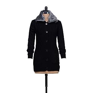 Black Fur Collared Cardigan
