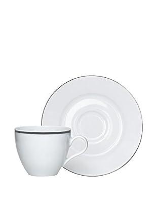 Molecuisine Kaffeetasse mit Untertasse 6er Set Platinum weiß
