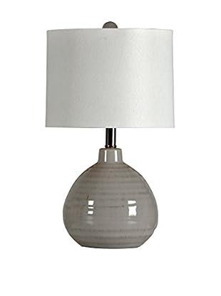 StyleCraft Ceramic 1-Light Table Lamp With Linen Hardback Shade, Cool Gray/White
