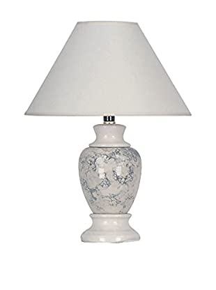 ORE International Marbled Ceramic 1-Light Table Lamp, Ivory