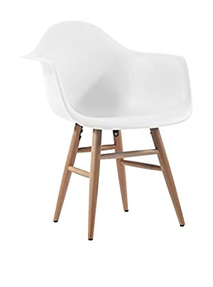Lo+deModa Set Silla 2 Piezas Tower Arms Wood Leg Blanco