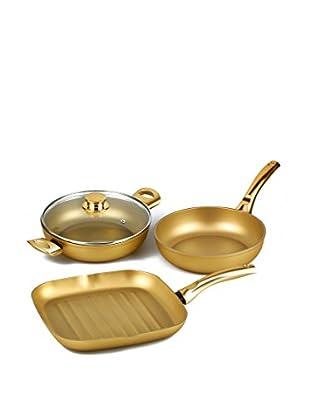 Stonegold Topf- und Pfannen-Set, 3 tlg. gold