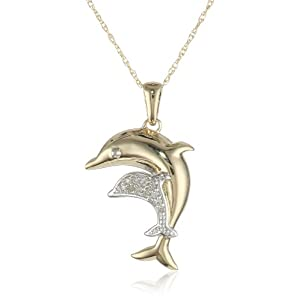 """10k Yellow Gold Mom and Baby Dolphin with Diamond-Accent Pendant Necklace, 18"""""""