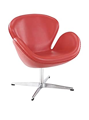 Modway Wing Leather Lounge Chair (Red)