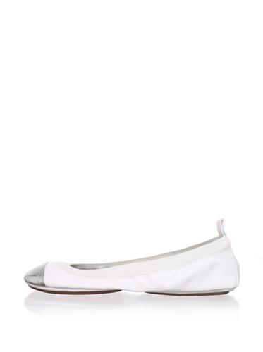 Yosi Samra Women's Cap-Toe Ballet Flat (White/Silver)