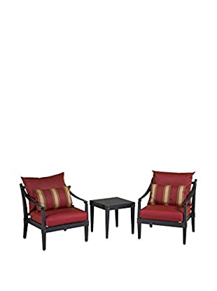RST Brands Astoria Set of 2 Club Chairs and Side Table, Red