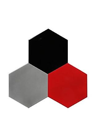 Nine6 Design Set of 3 Magnetic Dry Erasable Wall Panels, Red/Silver/Black
