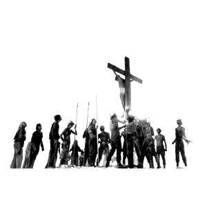 救世主イエス・キリストの処刑シーンのフォトデザイン ロングスリーブTシャツ execution (S, WHITE)