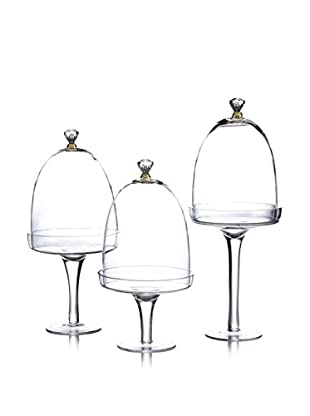 Jay Imports Set of 3 Glass Dome Cake Plates, Gold/Clear