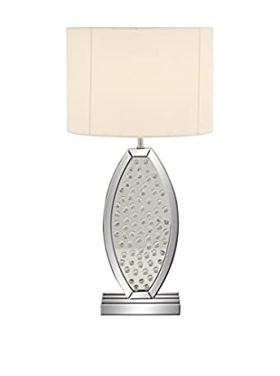Wood & Mirror 1-Light Table Lamp, Silver/Cream