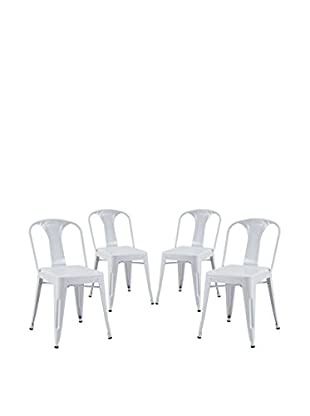 Modway Set of 4 Reception Dining Side Chairs, White