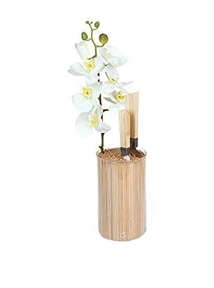CookUt Garden Bamboo Knife Holder Vase, White
