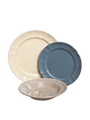 Brunch Time Geschirr 18 tlg. Set Country Chic elfenbein/blau/taupe