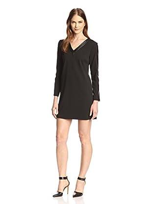 Julia Jordan Women's Faux Leather V-Neck Dress