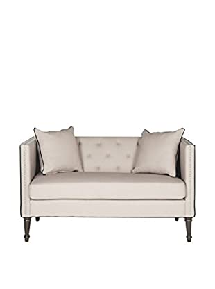 Safavieh Sarah Tufted Settee With Pillows, Taupe/Black