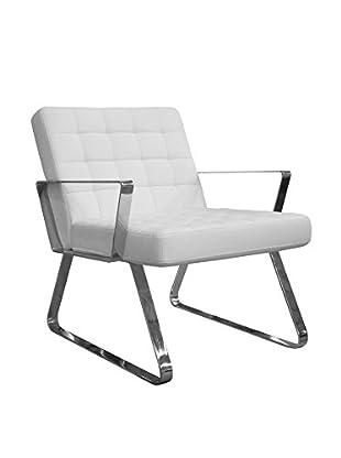 Furniture Contempo Century Chair, White/Chrome