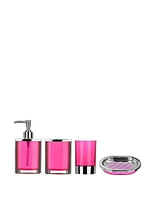 Premier Housewares Bad-Accessoires 4 tlg. Set 1601515 rosa