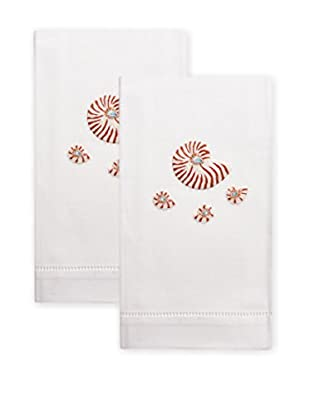 Henry Handwork Set of 2 Natural Nautilus Shell Embroidered Hand Towels, White