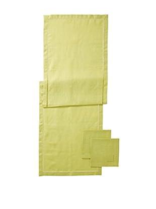 Hermès 3-Piece Green Linen Runner Napkin Set