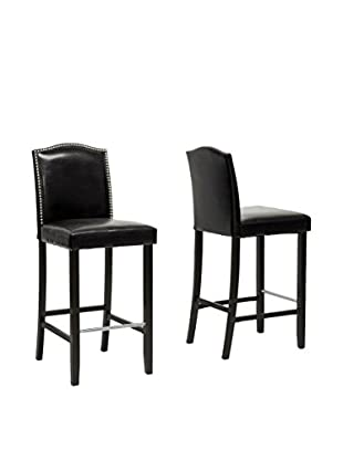 Baxton Studio Libra Modern Bar Stool with Nail Head Trim, Set of 2 (Black)