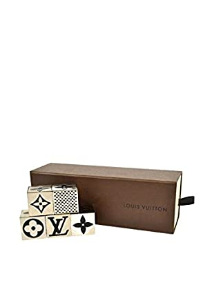 Louis Vuitton Monogram Silver Dice Game/Paperweight Set, Silver/Black