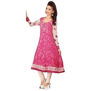 Designer Pink colour Faux Chiffon kurti|Pink|XXL